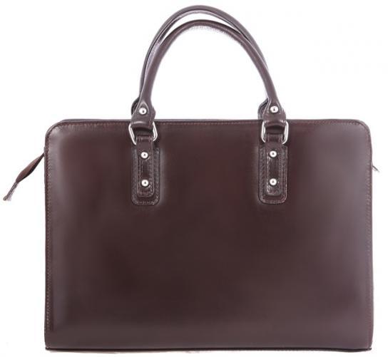 Kožená tmavě hnědá kabelka do ruky Dolly
