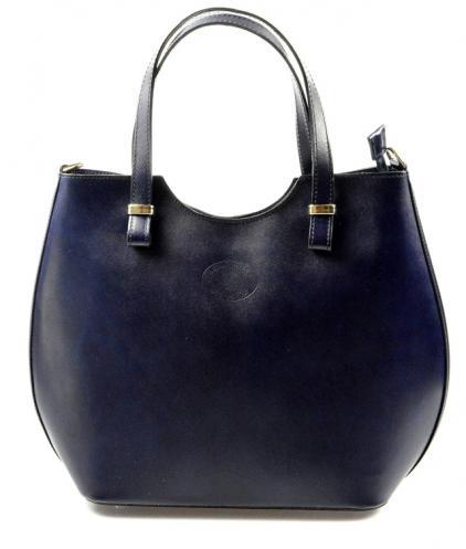 Kožená modrá kabelka do ruky catherine