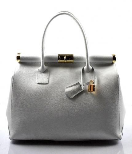 Kožená luxusní sněhově bílá kabelka do ruky Aliste