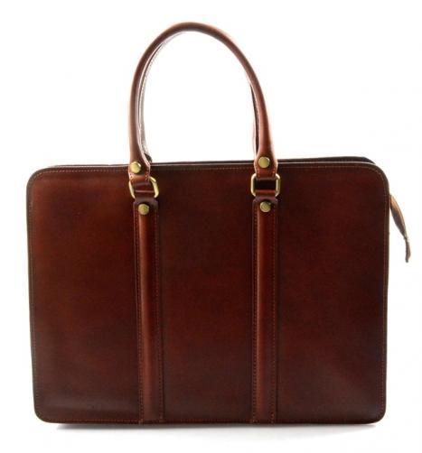 Kožená luxusní hnědá kabelka do ruky ester