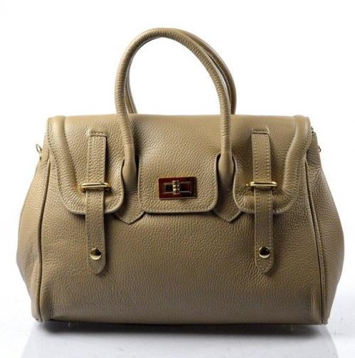 Kožená luxusní hnědá taupe kabelka do ruky Francis
