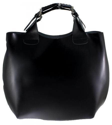 Kožená černá kabelka do ruky 2v1 sandi