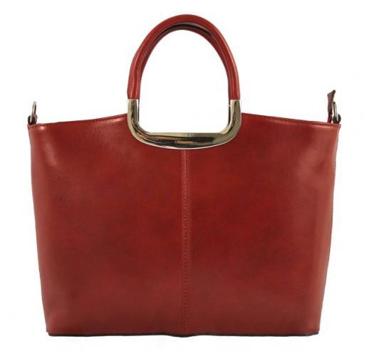 Kožená luxusní červená bordó kabelka do ruky amelia