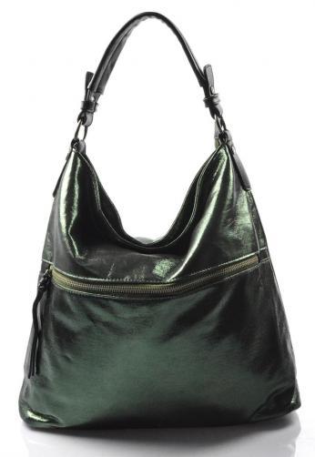 moderní lesklá zelená kabelka na rameno guliana