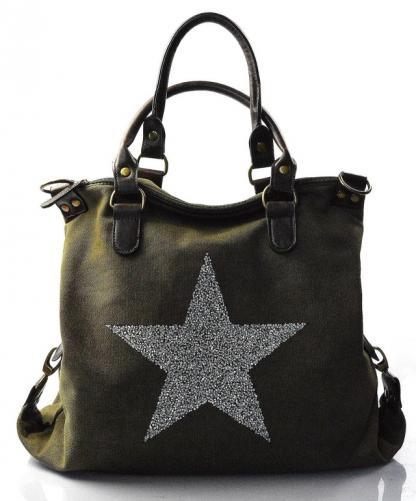 stylová moderní zelená taška na rameno military two