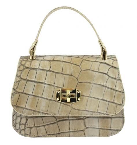 Kožená luxusní menší béžová crossbody kabelka do ruky Zoe