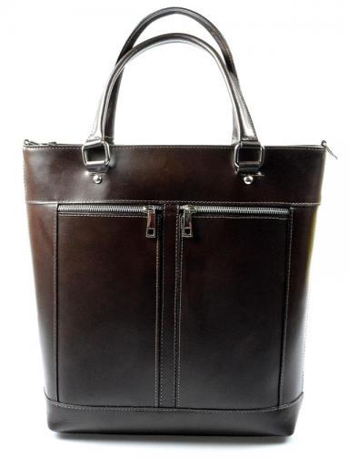 Kožená luxusní vysoká tmavá hnědá kabelka do ruky Tall