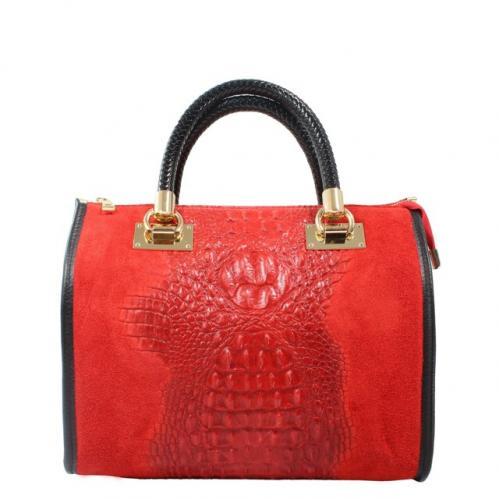 Kožená krokodýlí červená bordó kabelka do ruky christele