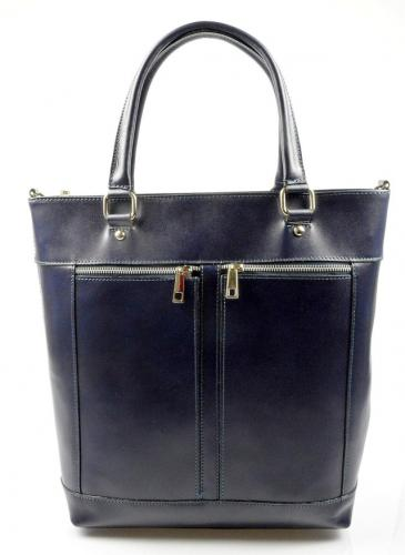 Kožená luxusní vysoká modrá kabelka do ruky Tall