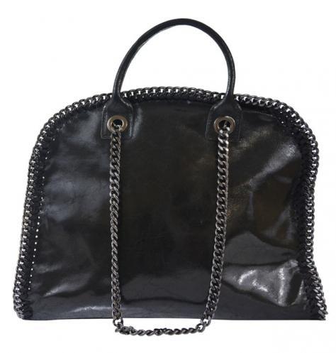 Kožená luxusní černá kabelka do ruky isabele