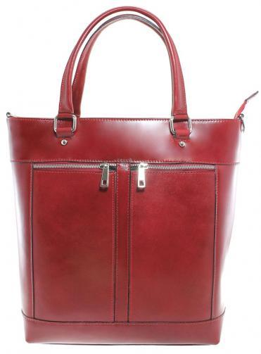 Kožená luxusní vysoká červená kabelka do ruky Tall