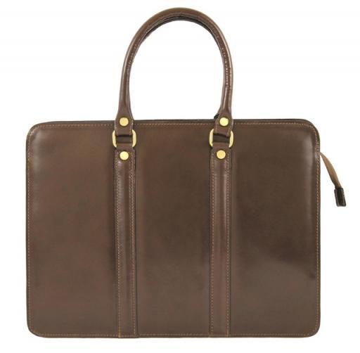 Kožená luxusní tmavě hnědá kabelka do ruky ester
