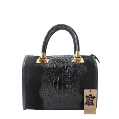 Kožená krokodýlí černá kabelka do ruky christele