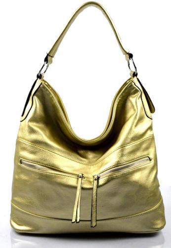 zlatá zářivá volnočasová kabelka gina