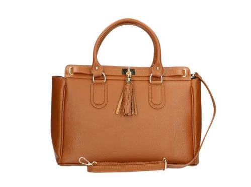 Kožená luxusní mahagonově hnědá kabelka do ruky montana