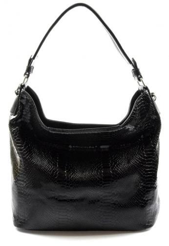 moderní lesklá černá kabelka na rameno star two