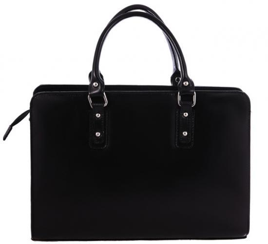 Kožená praktická černá větší kabelka do ruky Dolly