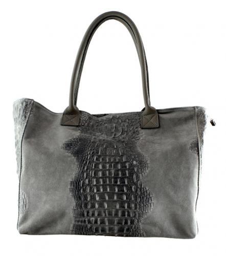 Kožená velká krokodýlí šedá taška na rameno jeana