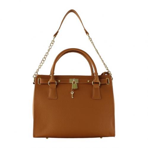 Kožená luxusní hnědá kabelka do ruky francesi