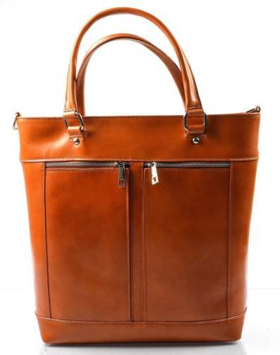 Kožená luxusní vysoká mahagonově hnědá kabelka Tall