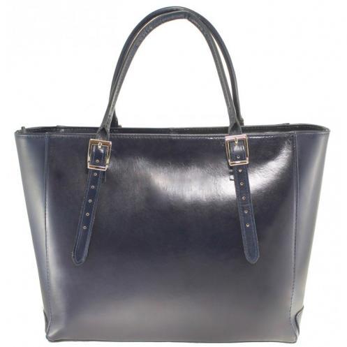Kožená luxusní velká tmavě modrá kabelka Havelan VERA PELLE 13208