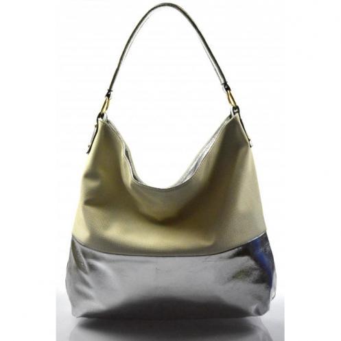 krémová se stříbrnou kabelka na rameno Mina Valeria 27939 6df5aeb760c