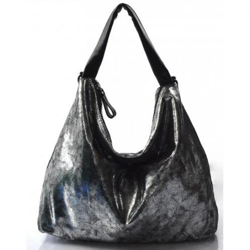 moderní lesklá stříbrná kabelka na rameno erin Valeria 31305