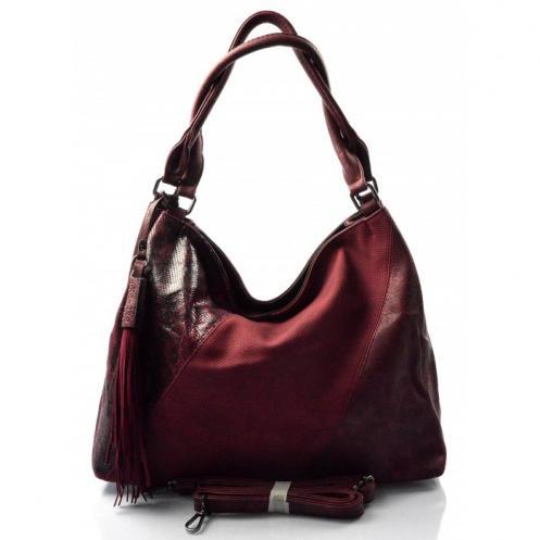 vínová bordó designová kabelka Mix two Valeria 14069