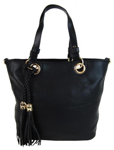 Černá elegantní kabelka přes rameno se zlatými doplňky Sheriel