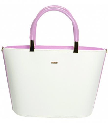 Bílo růžová vystužená kabelka do ruky Fetien