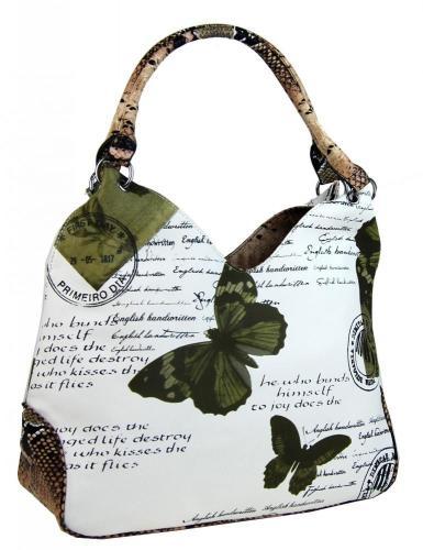 Zeleno bílá stylová dámská kabelka Luna
