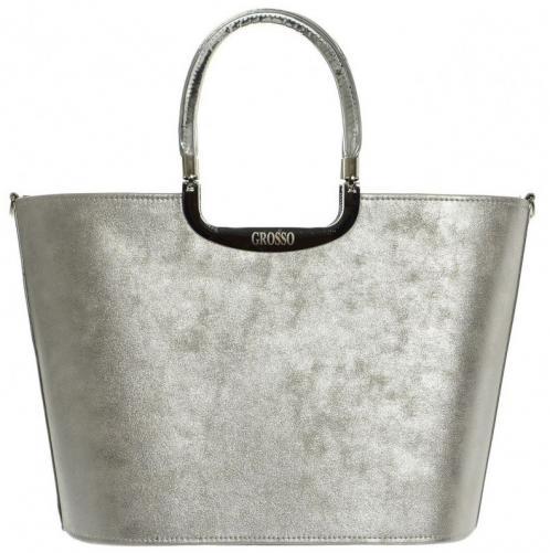 Stříbrná patinovaná elegantní kabelka do ruky Kája