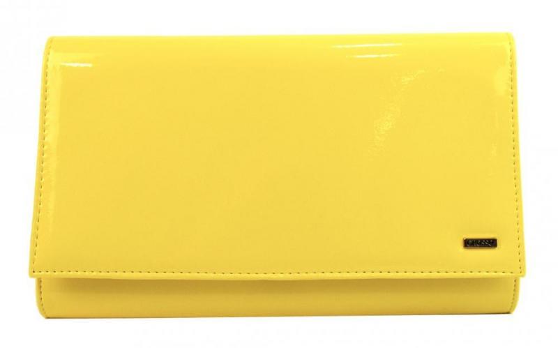 Žlutá lakovaná dámská listová kabelka Leina