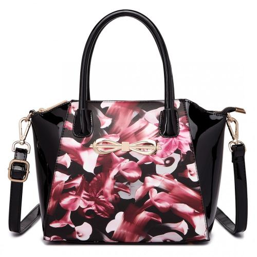 Černá lakovaná kabelka s růžovými květy Deniss