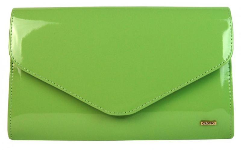 Zelená lakovaná společenská listová kabelka Piera