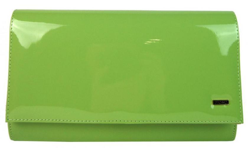 Zelená lakovaná dámská listová kabelka Polli