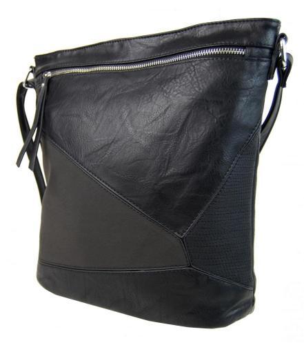 Černá sešívaná elegantní crossbody kabelka Evelia