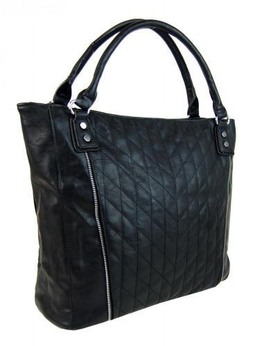 Černá moderní velká dámská prošívaná kabelka přes rameno Jentie