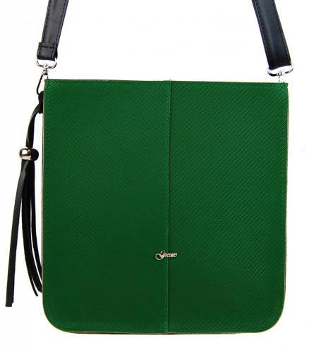 Zelená větší crossbody kabelka s ozdobou Panclie