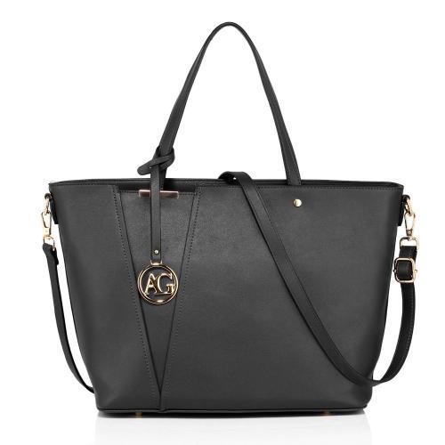 Černá moderní dámská kabelka do ruky i přes rameno Rielen