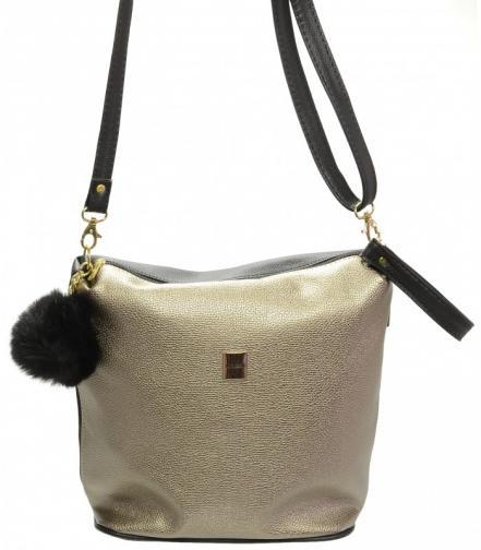 Zlatá crossbody kabelka s kožešinou Daniie