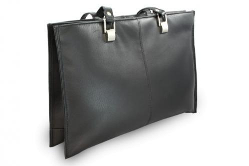 Černá kožená třízipová kabelka Aubree