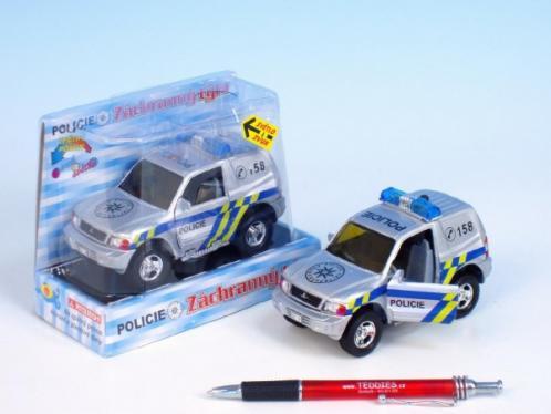 Auto Mitshubishi policie kov 12cm na zpětné natažení na baterie 2xLR41se zvukem se světlem v krabici