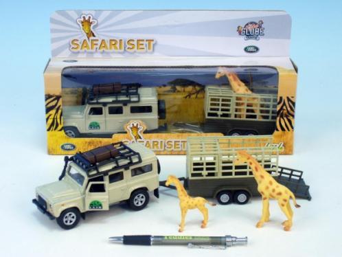 Auto Land Rover Defender kov 13cm s přívěsem a žirafou na zpětné natažení