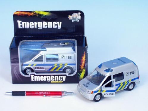 Auto policie kov 14cm na zpětné natažení na baterie 3xLR41 se zvukem se světlem v krabičce