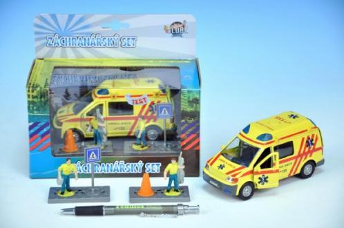 Auto ambulance kov 13cm s postavičkami na zpětný chod