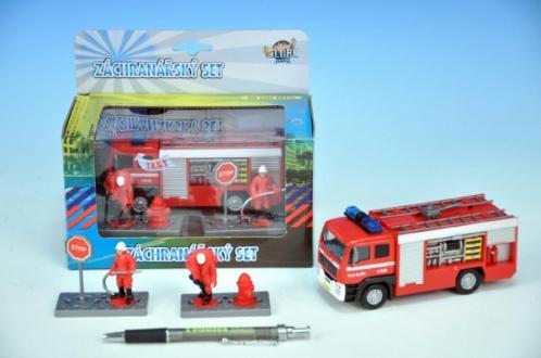 Auto hasiči kov 13cm  s postavičkami na zpětný chod na baterie se světlem se zvukem