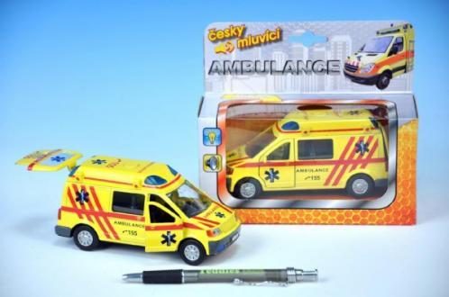 Auto ambulance kov 13cm česky mluvící na zpětné natažení na baterie se světlem
