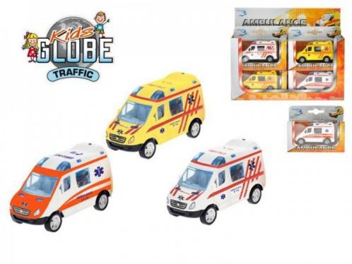Auto Ambulance 8cm kov zpětný chod asst 3 barvy