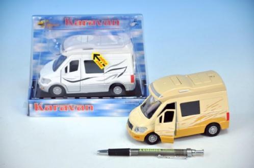 Auto karavan kov 14cm na zpětný chod na baterie se zvukem se světlem asst 2 barvy v krabičce